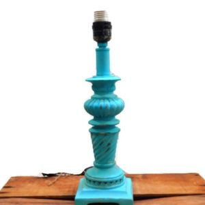 **Wood Lamp Chippy Turquoise Painted Farmhouse